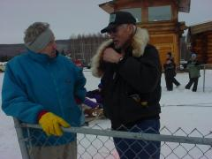 Gareth Wright and George Attla chat during a Jr. musher's race in Fairbanks, AK.