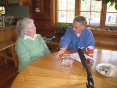 Mary Shields and Bill Schneider during an interview at her home in Fairbanks, AK.