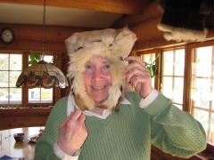 Mary Shields demonstrates how a traditional Siberian hood is worn.