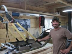 Cody Strathe in his workshop at Dog Paddle Designs.
